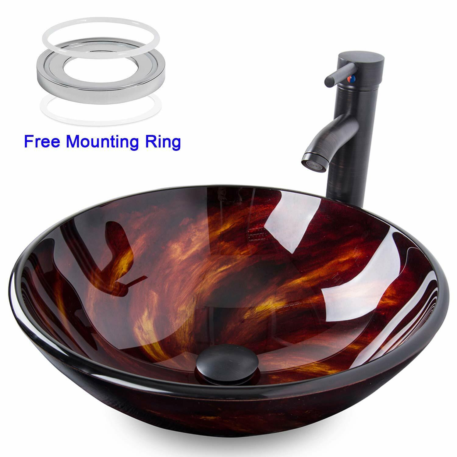 Bathroom Artistic Vessel Sink Combo Tempered Glass Faucet Po
