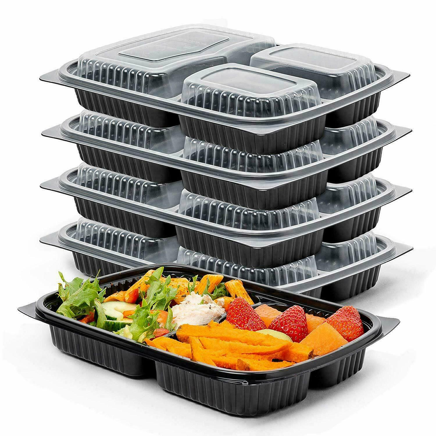 Meal Prep Food Containers 1,2,3 Compartment BPA Free Plastic Lunch Box With Lids