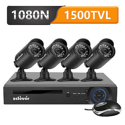 Zclever 720P 4CH HDMI DVR CCTV Home Surveillance Security Camera System Outdoor