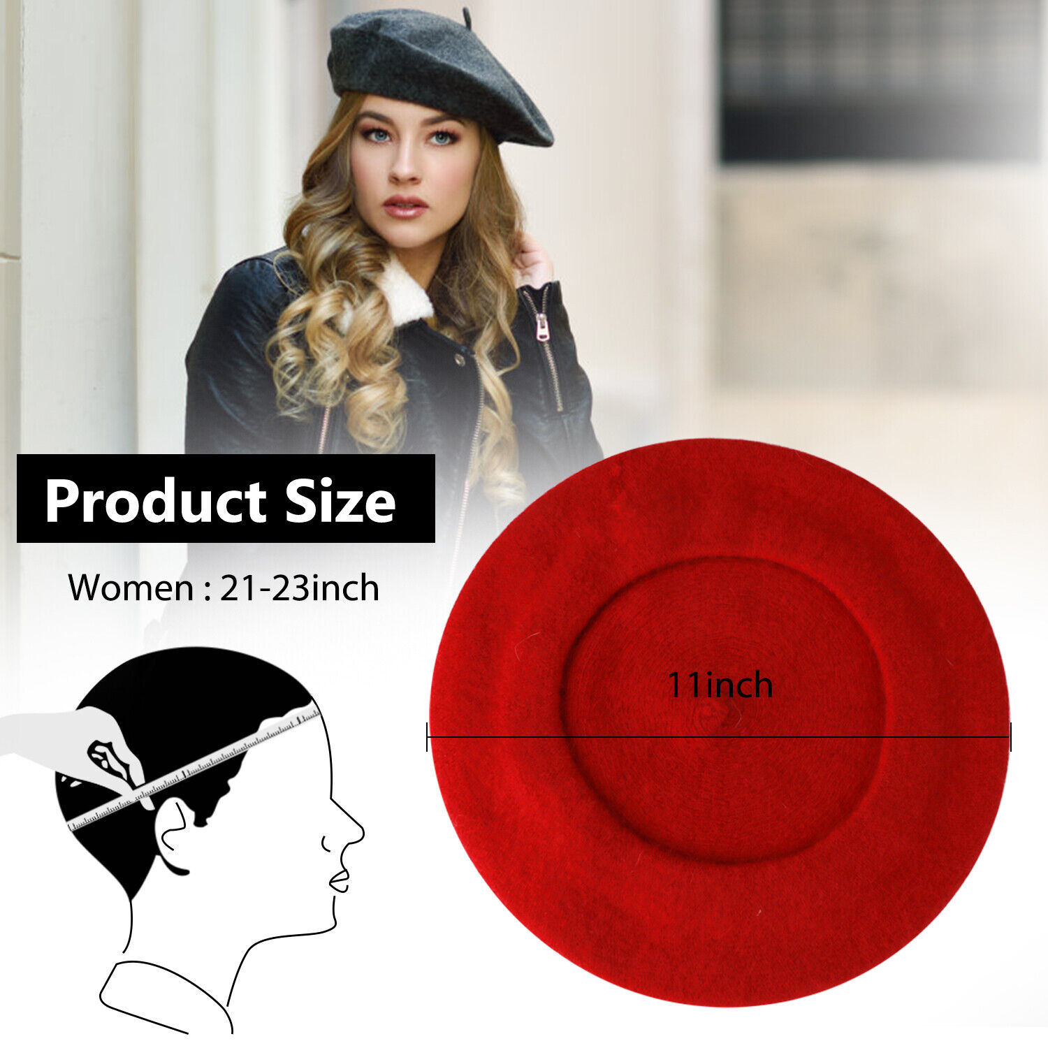 New Warm French Style Lightweight Casual Classic Beanie Solid Color Wool Beret