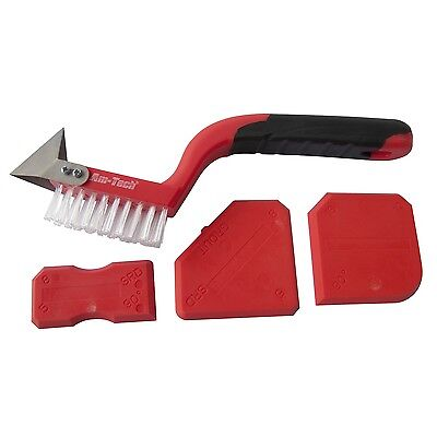 Am Tech 4 Piece Caulking Grouting Sealant Silicone Finishing Cleaning Tool Kit