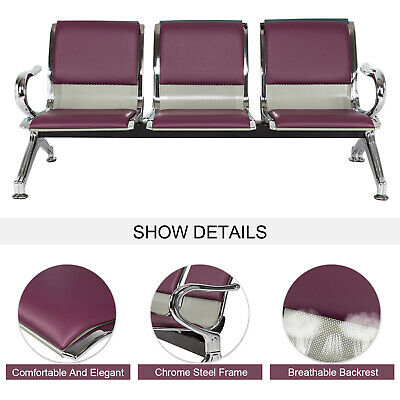 3-seat Office Reception Chair Waiting Room Bench Visitor Guest Airport Purple