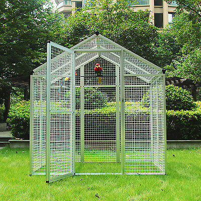 Large Parrot Bird Animal Cage House Iron Pet Poultry Walk in Aviary Heavy Duty