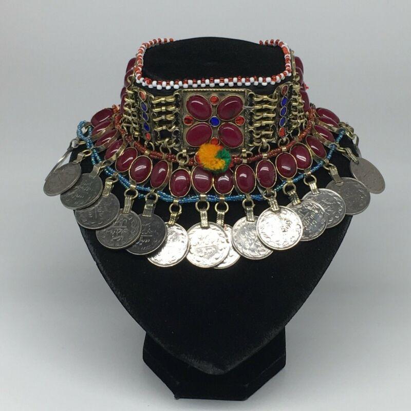 "12""x4.25"" Kuchi Choker Multi-Color Tribal Gypsy Bohemian Statement Coins,CK537"
