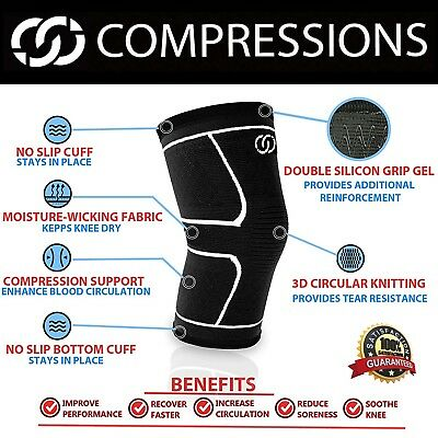 Compressions Knee Sleeve Support Brace - Best for Meniscus Tear, Arthritis,