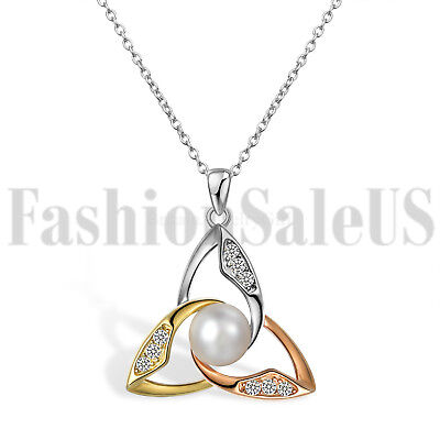 925 Silver Celtic Irish Knot Pearl Pendant Lucky Necklace for Girlfriend Mom 925 Silver Celtic Knot