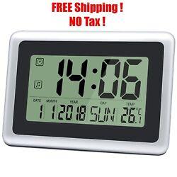 Large Digital Alarm Desk & Wall Clock Date Indoor Temperature Calendar Display