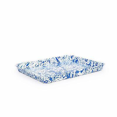 Crow Canyon Home Enamelware Small Rectangular Tray or Baking Sheet, Blue Marble