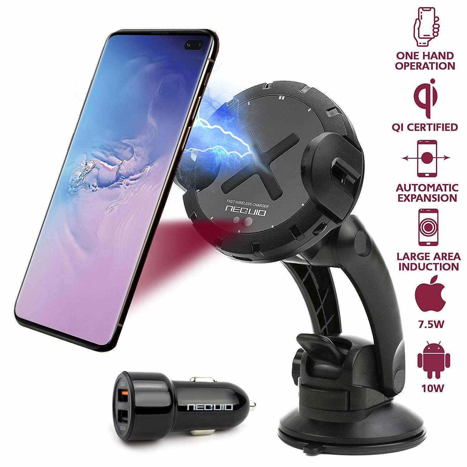 Wireless Car Charger, 15W Qi Certified with Infrared Sensor