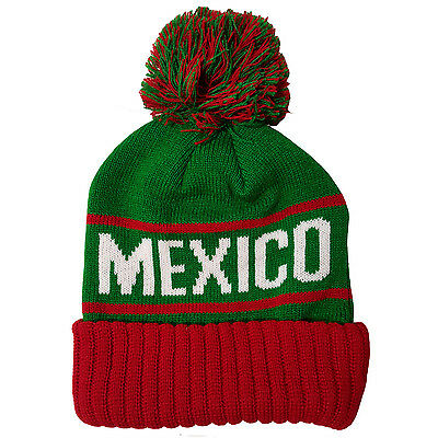 MEXICO Two Tone Pom (Green/Red) Cuffed Bubble Knit Beanie Skull (Red Cuffed Knit Beanie)