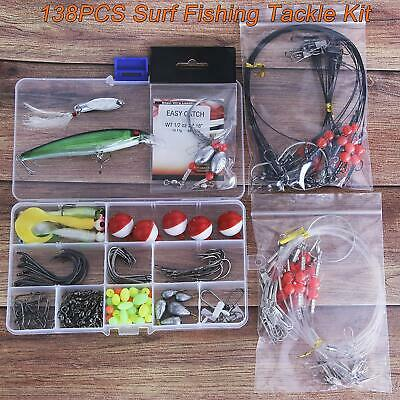 Fishing Gear Tackle Box Leader Rigs Fishing Rig Bucktail Jig Minnow Lures Spoon Pyramid Sinker Hooks Swivel for Saltwater Beach Saltwater Surf Fishing Tackle Kit