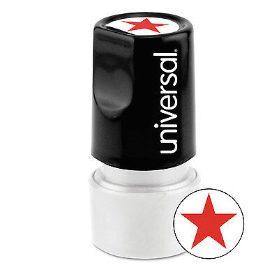 (UNIVERSAL Round Message Stamp STAR Pre-Inked/Re-Inkable Red 10081)