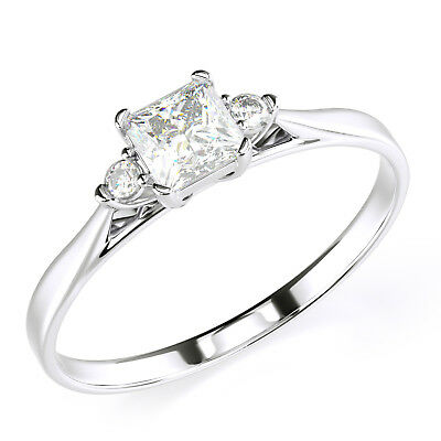Solid 14K Solid White Gold Three Stone Engagement Promise Ring - Halo Three Stone
