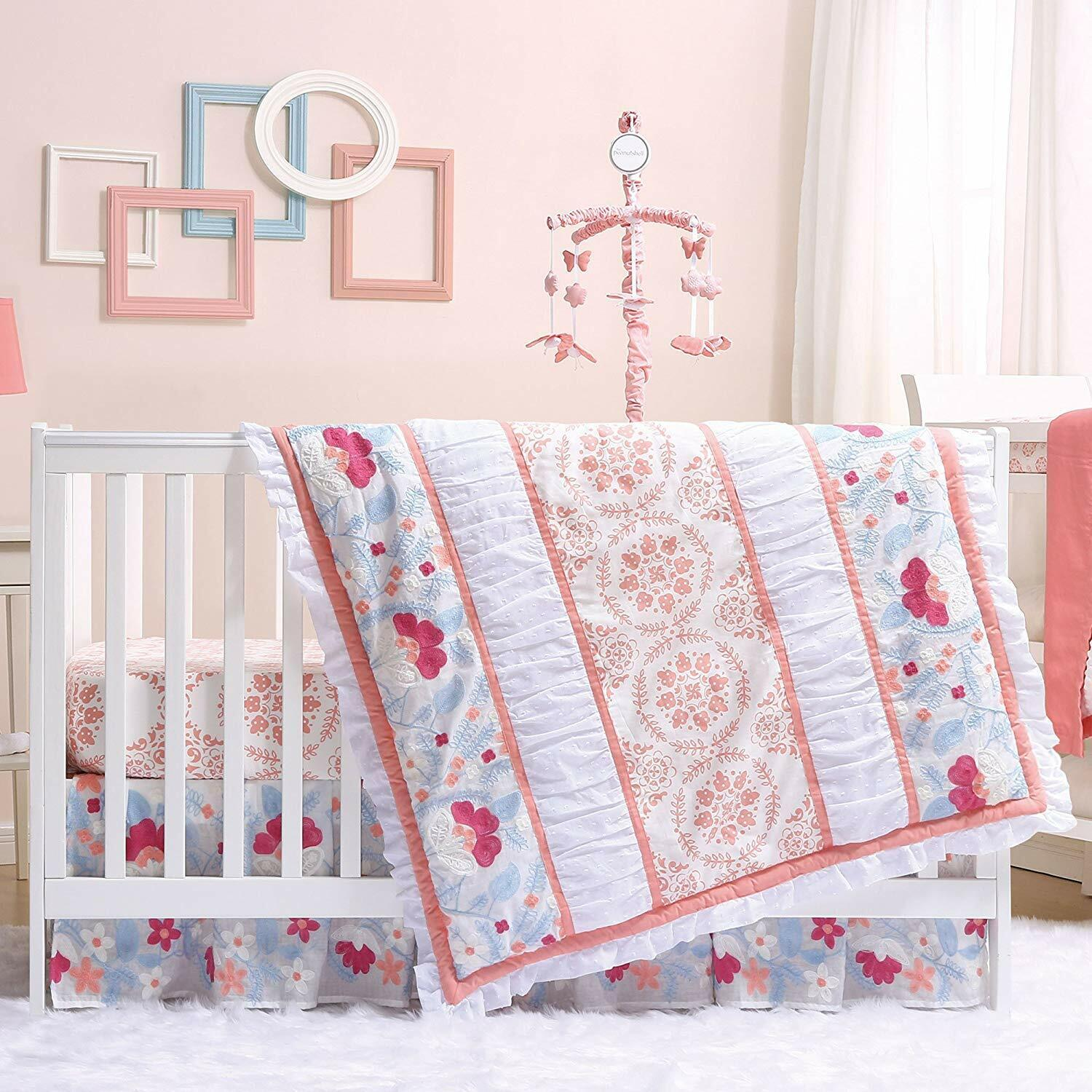 The PeanutShell 4Pc CRIB QUILT Set CAMILLA CORAL EMBROIDERY