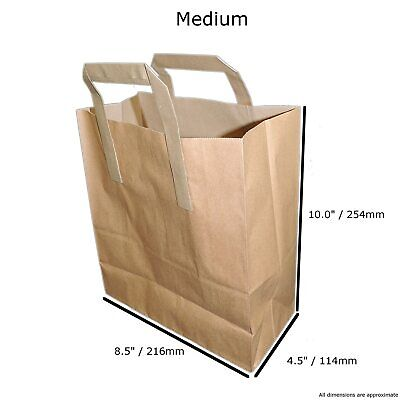 100 X Brown SOS Kraft Paper Bags Eco-Friendly Food Carrier Gifts Party Take Away