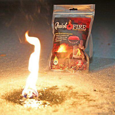 Quickfire All Purpose Fire Starter Camping & Charcoal BBQ Fire Starter 25 Pouche