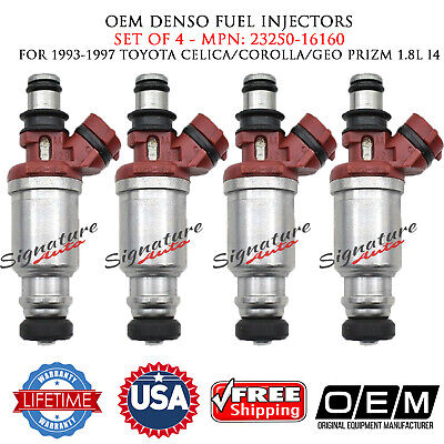 4/UNIT OEM DENSO Fuel Injectors For Toyota Celica/Corolla/GEO Prizm #23250-16160