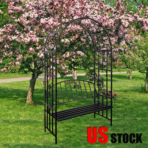 Outdoor Arbor Arch with Bench Seat for Climbing Plant Wedding Garden Decoration