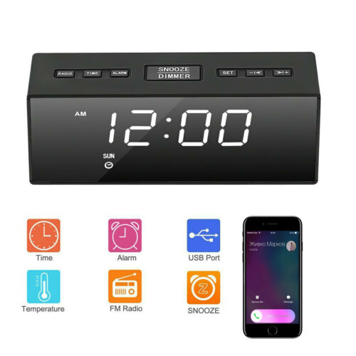 USB Digital LED Alarm Clock FM Ornaments Portable Battery Operated Mirror Radio