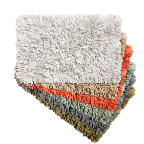 Cotton Blend Bath Bathroom Rug Mat Paper Shag Design 21″x34″ Bath