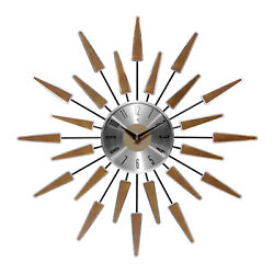 Infinity Instruments Sunburst Mid-Century Metal Satellite Wall Clock, Walnut