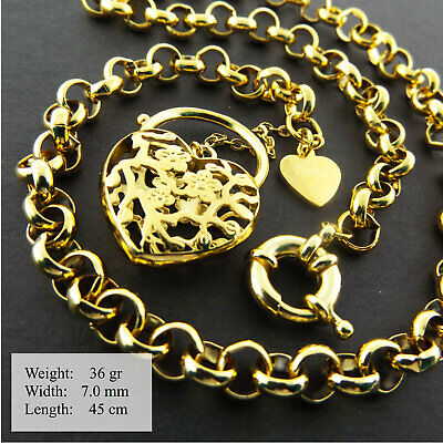 Jewellery - Necklace Bracelet 18K Yellow Gold G/F Solid Belcher Heart Padlock Boltring 45cm