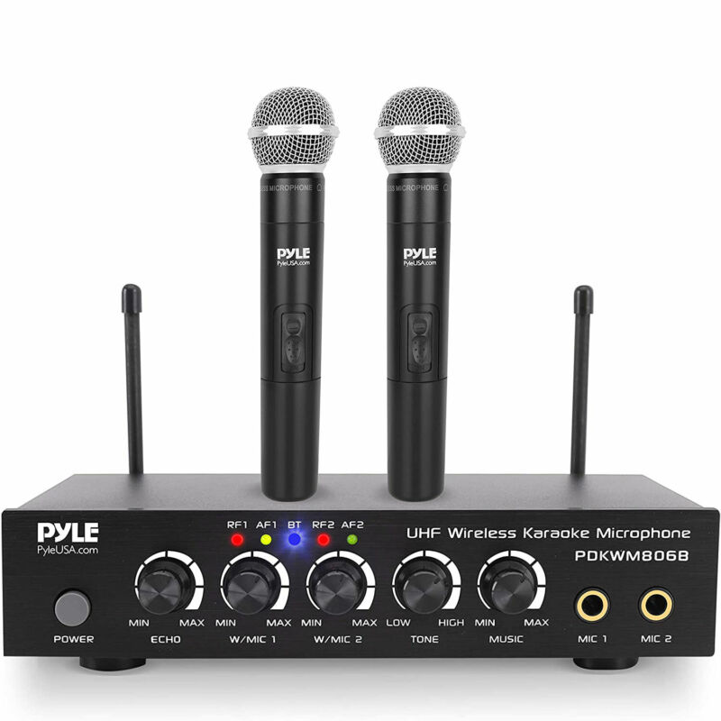 Pyle PDKWM806B Bluetooth UHF Wireless Dual Microphone System w/ 2 Handheld Mics