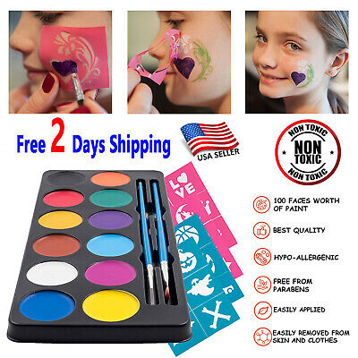 Halloween Face Body Painting Makeup Washable Painting 24 Stencils 2 Brushes Eboo
