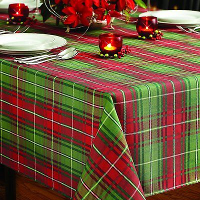 Christmas Xmas Winter Tablecloth 60x120 Inch Holiday Plaid Red & Green Cover
