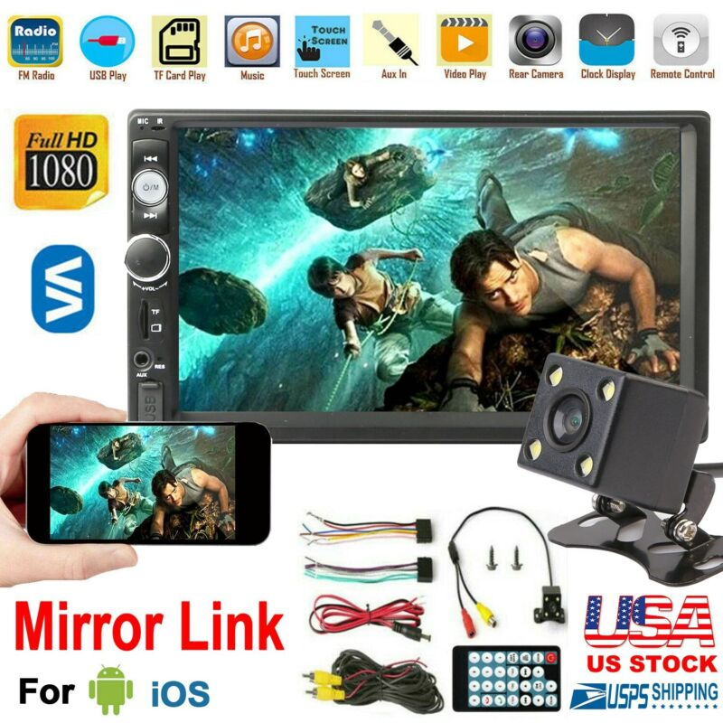 7 Inch Double 2 DIN Car MP5 Player Wireless Touch Screen Stereo Radio w/Camera