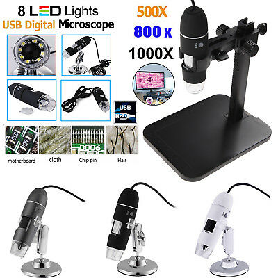5008001000x Digital 8led Microscope Usb2.0 Zoom Endoscope Magnifier Camera New