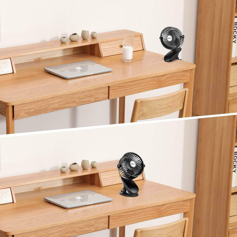 USB Rechargeable Mini Cooling Fan Clip Desk Baby Stroller Portable 5