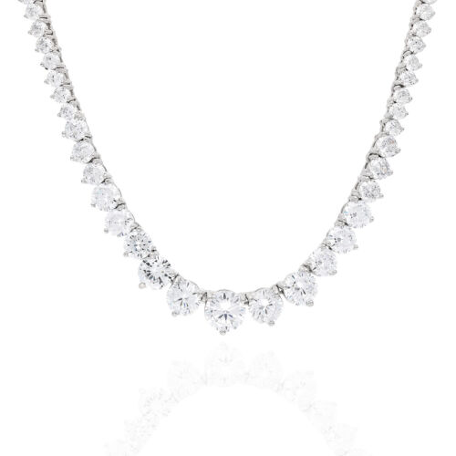 52Ct. Created Diamond White Gold Over Silver Graduated Tennis Necklace 16 2