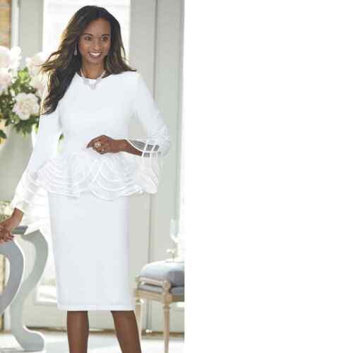 plus size 18W Dorothea White Peplum Dress from Ashro new