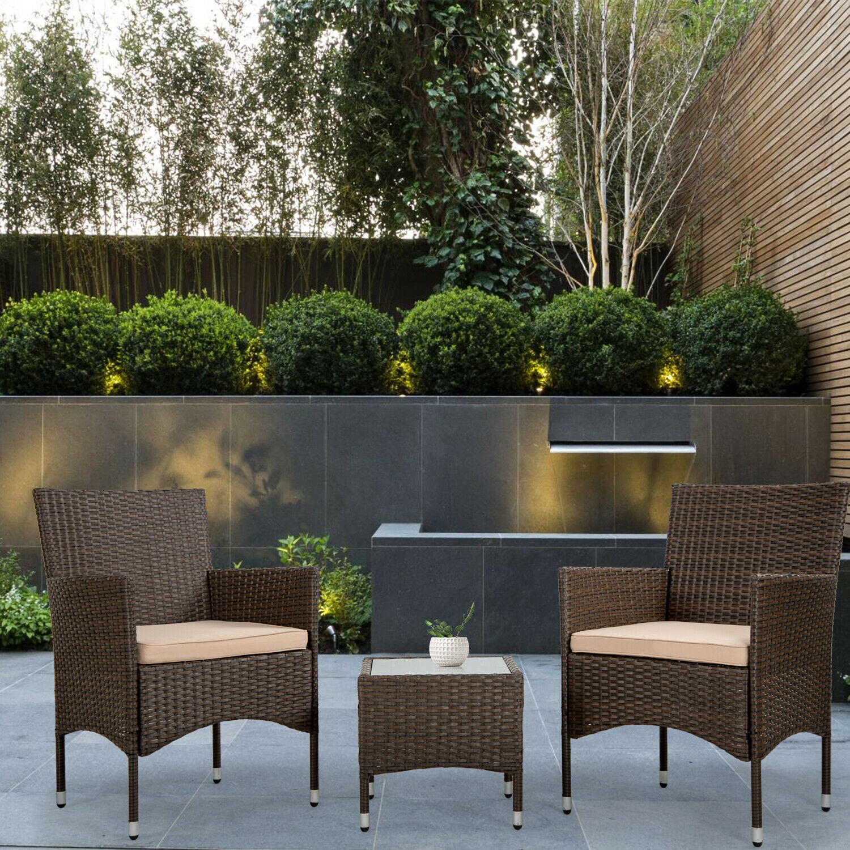 Patio Furniture Sets 3 Pieces Wicker Bistro Set Outdoor Patio Set Rattan Chair Home & Garden