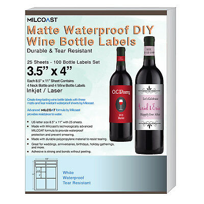 Milcoast Matte Waterproof DIY Wine Bottle Labels - 100 Label Sets 25 Sheets