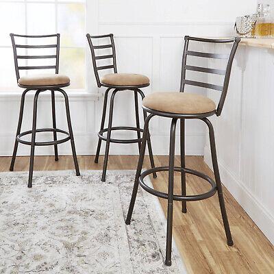 Swivel Barstool Dining Table Adjustable-Height Hammered Bronze Finish Set Of 3