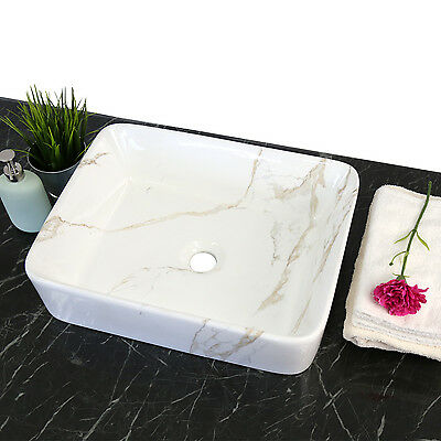 Kinbor Rectangle Bathroom Porcelain Ceramic Vessel Vanity Sink Art Basin