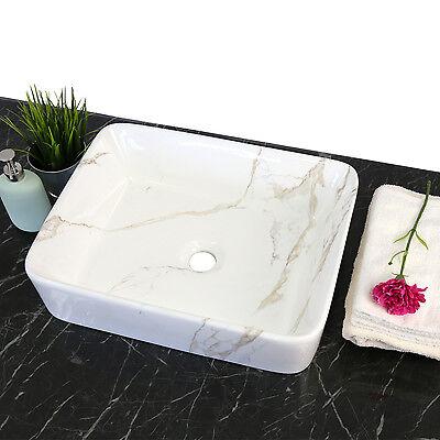 Bathroom Basin Bark Sink Vanity Porcelain Rectangle Ceramic Art Bath Sink