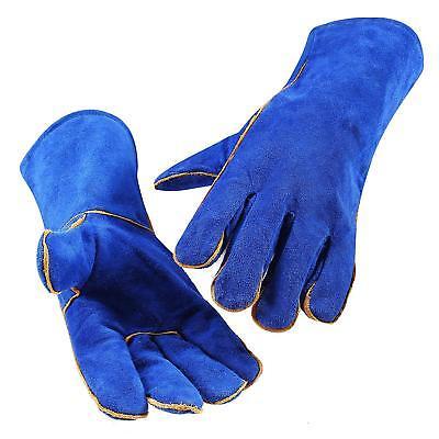 Deko 14 Inch Blue Welding Gloves Heat Resistant Lined Leather For Mig Tig Welder