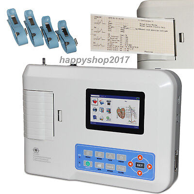 Portable Ecgekg Machine Cardiac Monitor 3 Channel 12 Lead Electrocardiograph Us