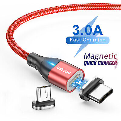 3A Magnetic Type C Micro USB Phone Charger Fast Charging Cable Data Sync Cord