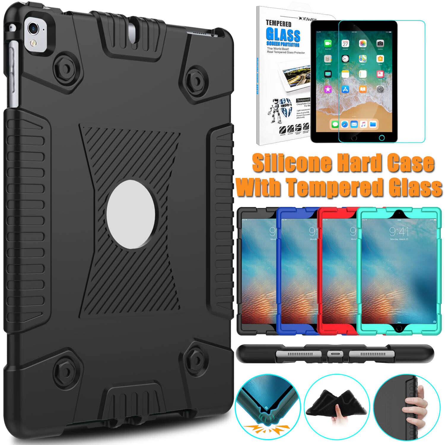 For Apple iPad 9.7 inch 2018 6th Gen Case Rugged Rubber Cove