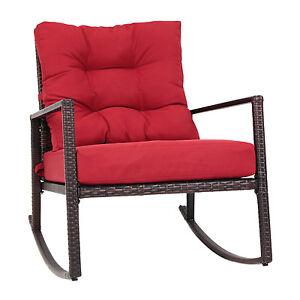 Kinbor Rattan Rocking Chair Outdoor Wicker Patio Garden Rocker Garden w/ Cushion