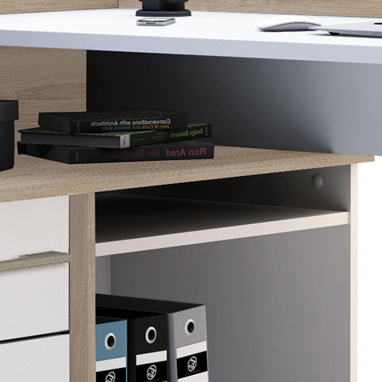 eck schreibtisch 881 sonoma eiche wei computertisch eckschreibtisch pc tisch eur 134 90. Black Bedroom Furniture Sets. Home Design Ideas