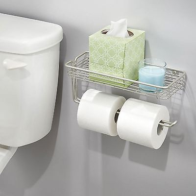Bathroom Double Wall Mounted Toilet Paper Roll Holder Organiser with Shelf New