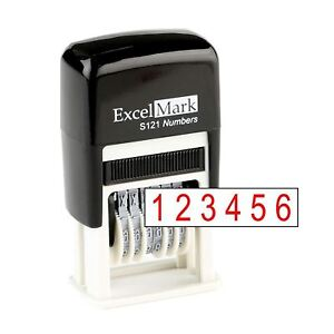 ExcelMark Self Inking Number Stamp | 6 Digit Red Numbering Stamp