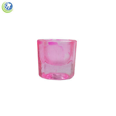 Glass Dappen Dish Pink Coated Acrylic Liquid Holder Container Dental Cosmetology