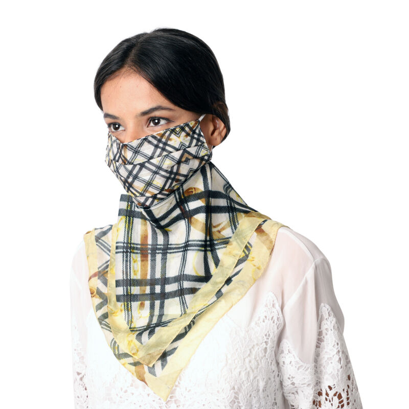Mulberry Silk 2 in 1 Plaid Soft Feel Scarf Protective Face Mask Black Yellow