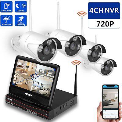 Funk Überwachungskamera Videoüberwachung Set 4 Outdoor Kamera + 10.1 Monitor FE
